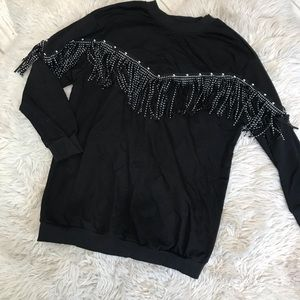 Sweaters - Fringe detail pullover sweater